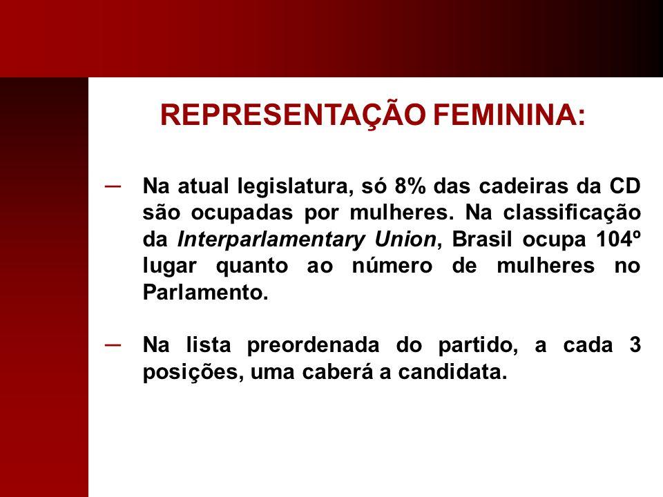 REPRESENTAÇÃO FEMININA: