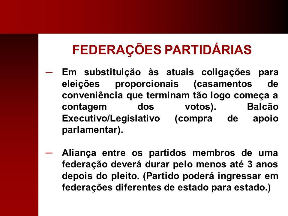 FEDERAÇÕES PARTIDÁRIAS