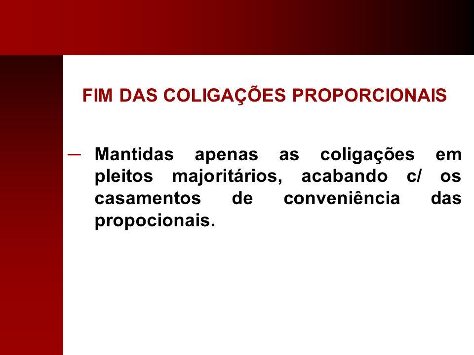 FIM DAS COLIGAÇÕES PROPORCIONAIS