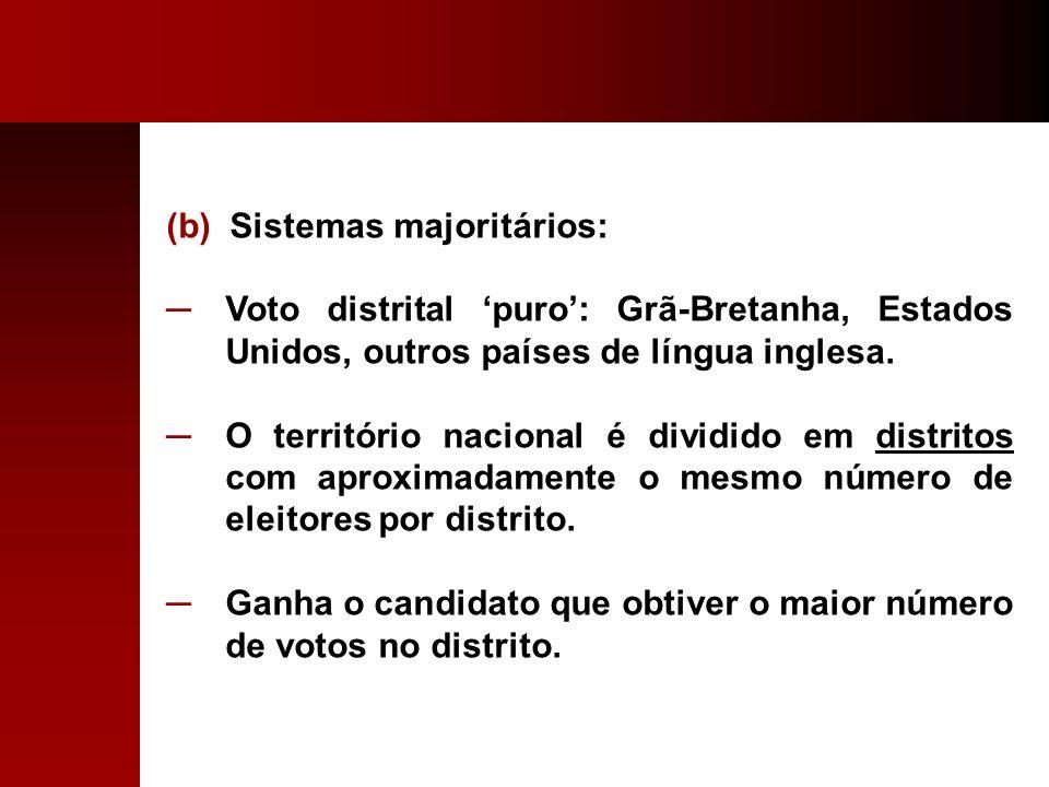 (b) Sistemas majoritários: