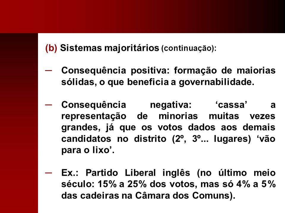 (b) Sistemas majoritários (continuação):