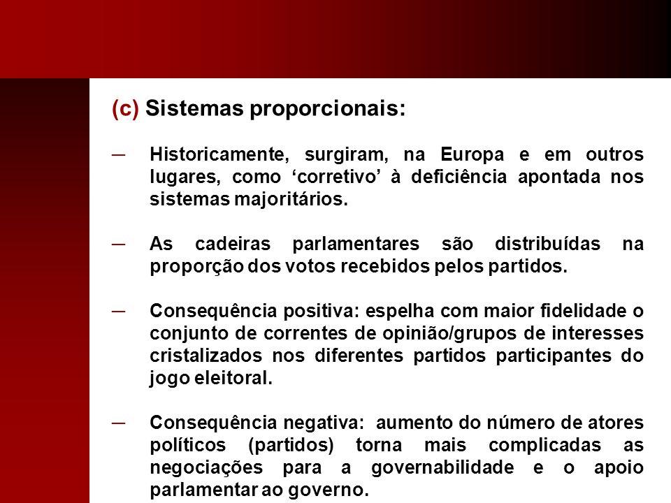 (c) Sistemas proporcionais:
