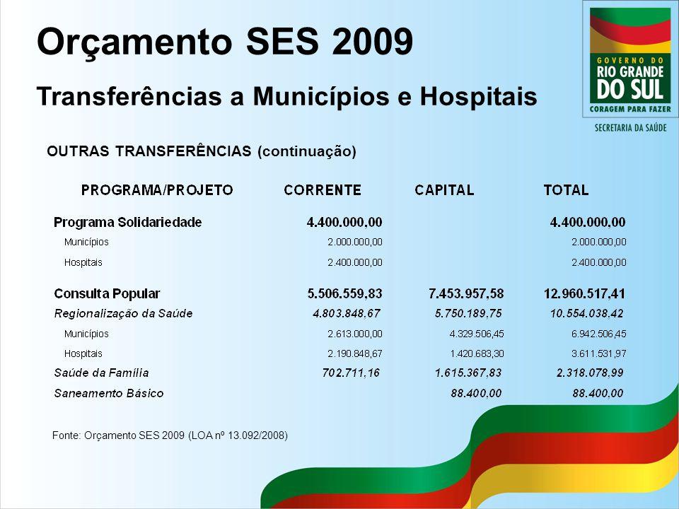 Orçamento SES 2009 Transferências a Municípios e Hospitais