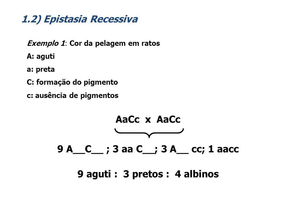 9 A__C__ ; 3 aa C__; 3 A__ cc; 1 aacc 9 aguti : 3 pretos : 4 albinos