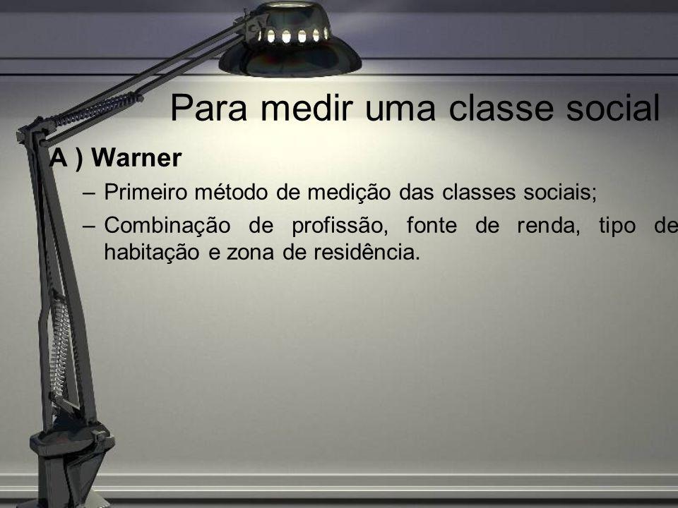 Para medir uma classe social