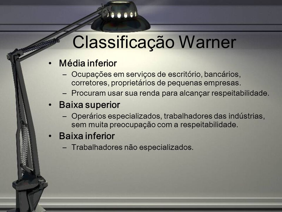 Classificação Warner Média inferior Baixa superior Baixa inferior