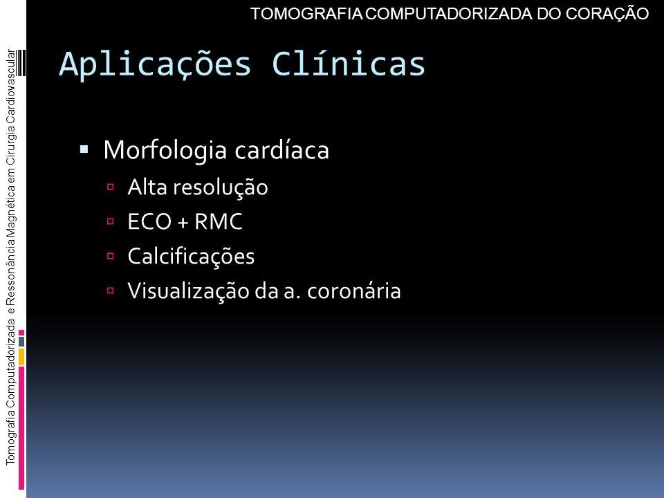 Aplicações Clínicas Morfologia cardíaca Alta resolução ECO + RMC