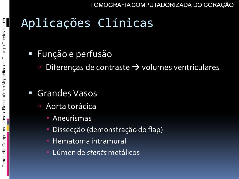 Aplicações Clínicas Função e perfusão Grandes Vasos