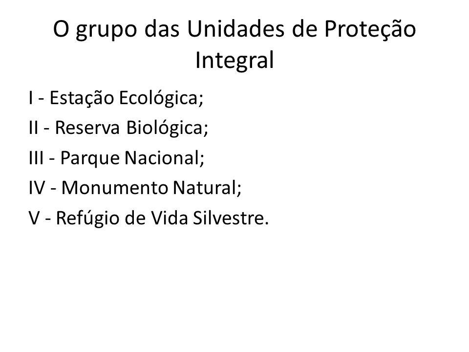 O grupo das Unidades de Proteção Integral