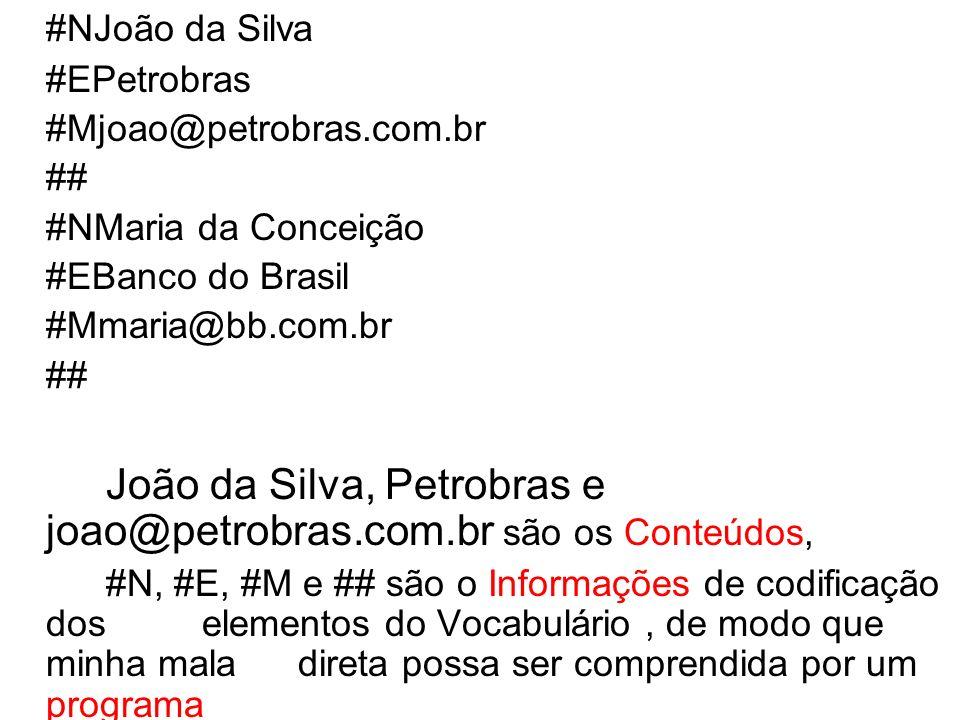 João da Silva, Petrobras e joao@petrobras.com.br são os Conteúdos,