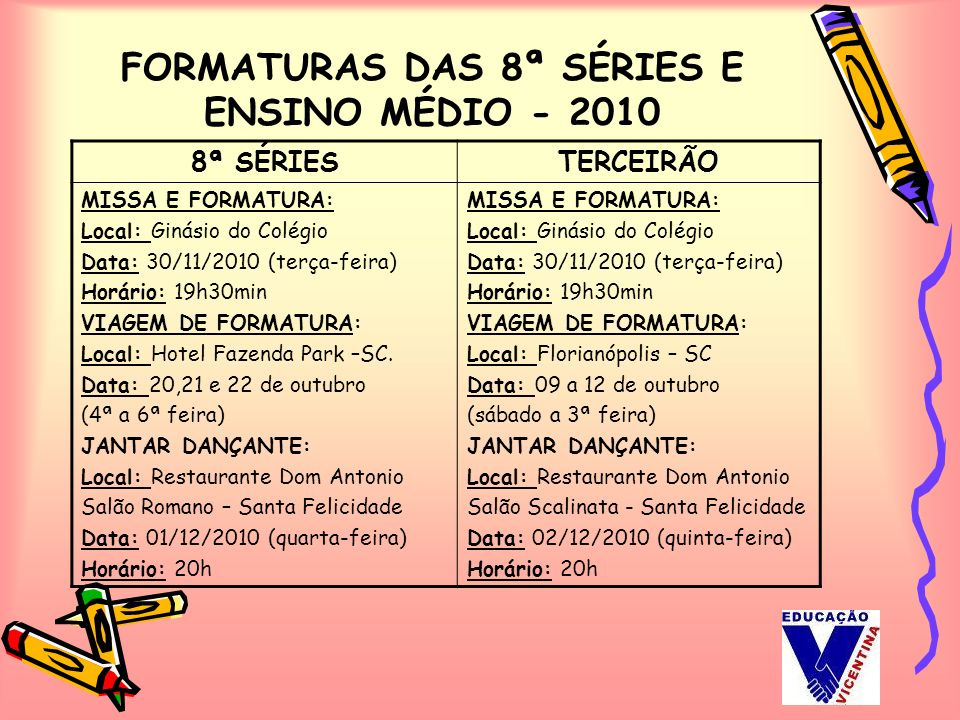 FORMATURAS DAS 8ª SÉRIES E ENSINO MÉDIO - 2010