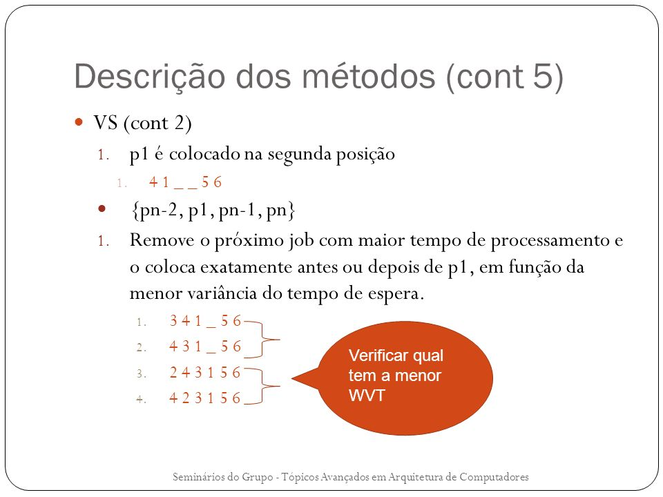 Descrição dos métodos (cont 5)