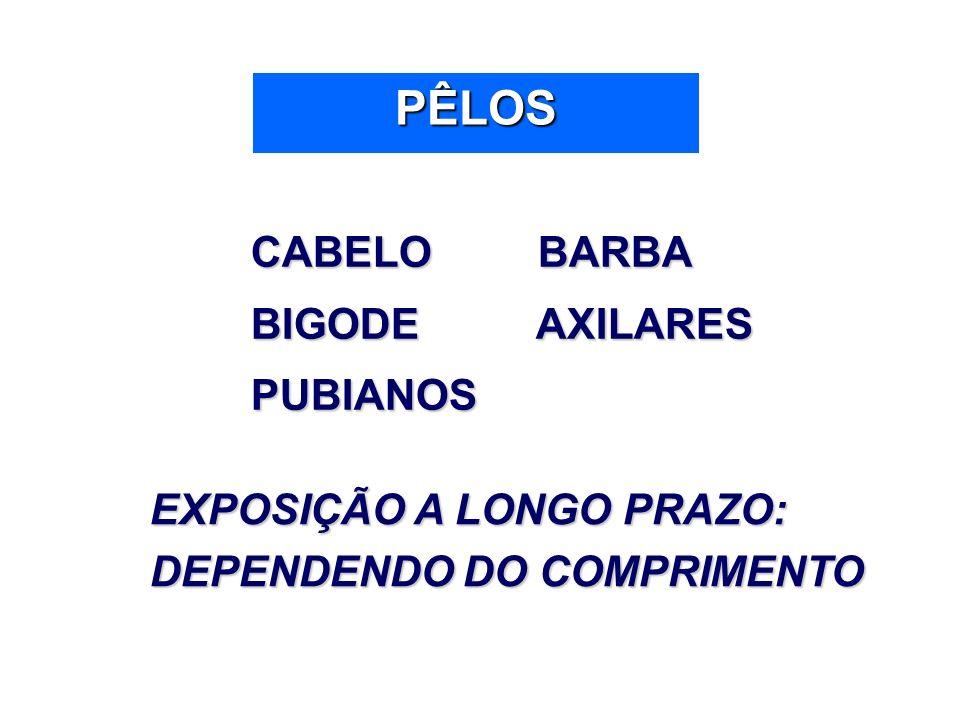 PÊLOS CABELO BARBA BIGODE AXILARES PUBIANOS EXPOSIÇÃO A LONGO PRAZO: