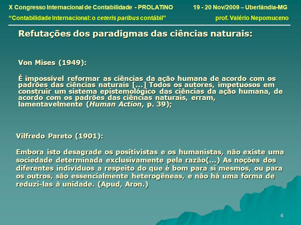 Refutações dos paradigmas das ciências naturais: