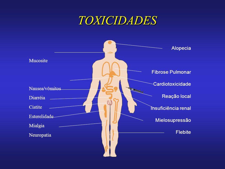 TOXICIDADES Alopecia Mucosite Fibrose Pulmonar Cardiotoxicidade