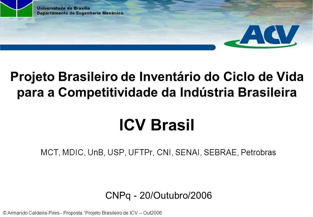 Projeto Brasileiro de Inventário do Ciclo de Vida para a Competitividade da Indústria Brasileira ICV Brasil MCT, MDIC, UnB, USP, UFTPr, CNI, SENAI, SEBRAE, Petrobras