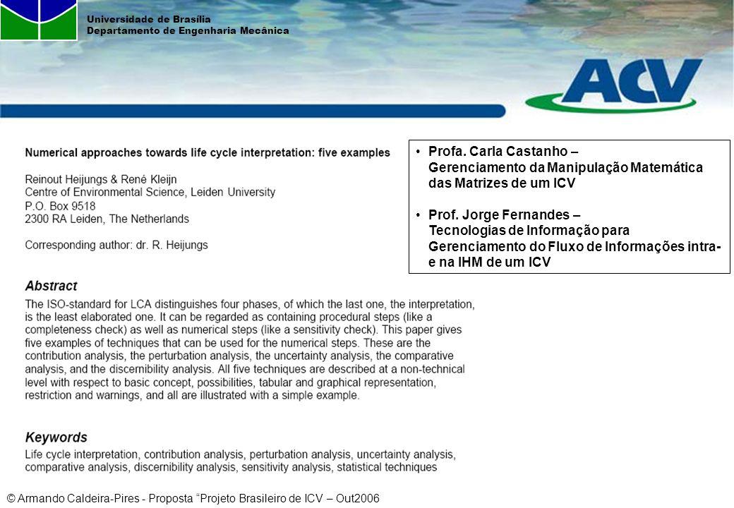 Profa. Carla Castanho – Gerenciamento da Manipulação Matemática das Matrizes de um ICV
