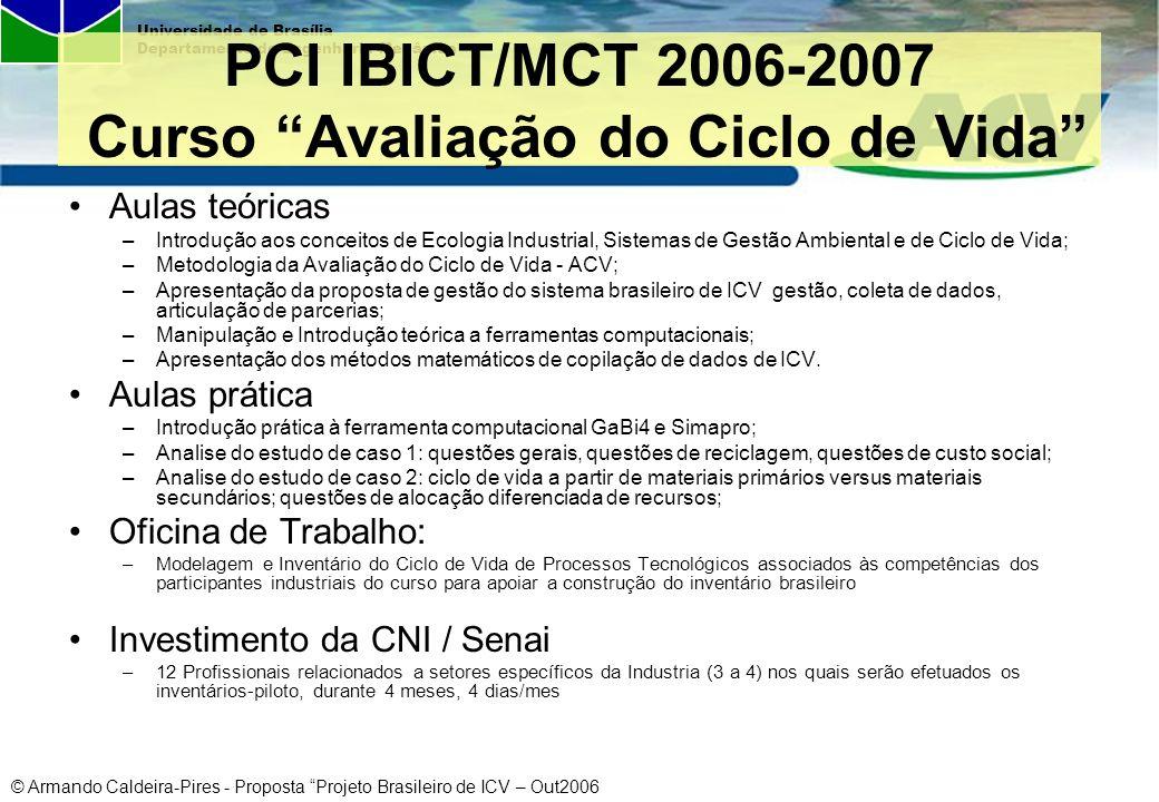 PCI IBICT/MCT 2006-2007 Curso Avaliação do Ciclo de Vida