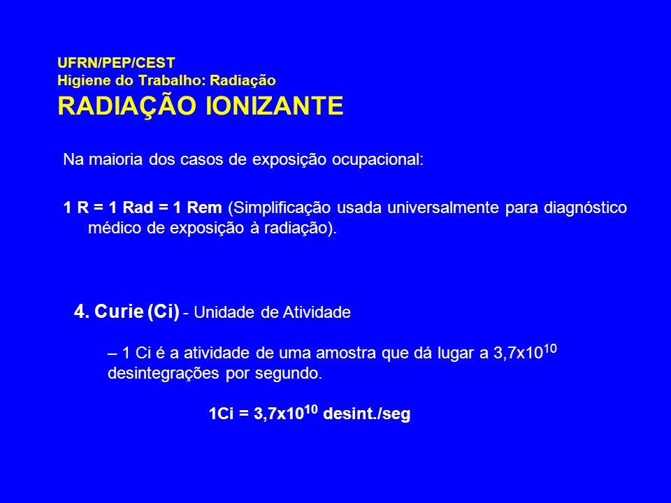 UFRN/PEP/CEST Higiene do Trabalho: Radiação RADIAÇÃO IONIZANTE