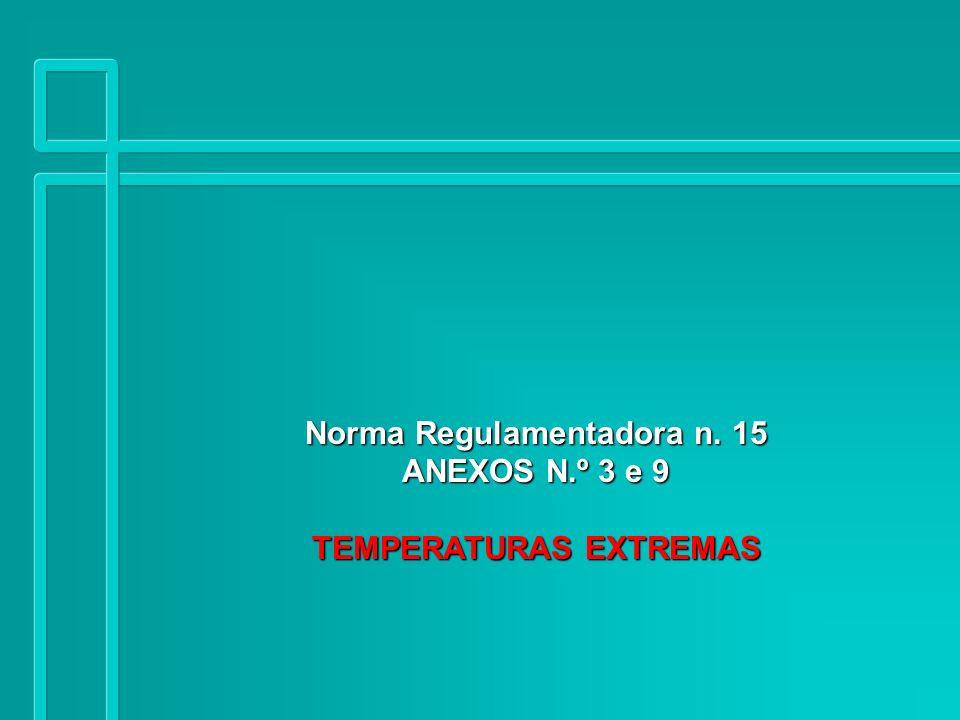 Norma Regulamentadora n. 15 ANEXOS N.º 3 e 9 TEMPERATURAS EXTREMAS