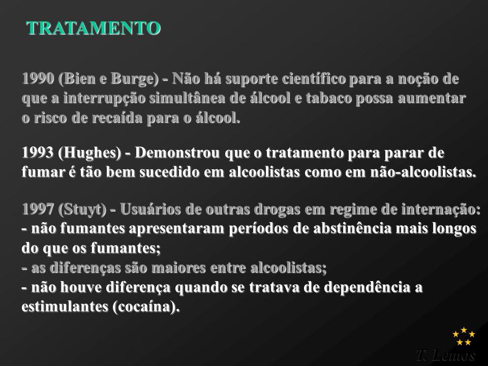 TRATAMENTO 1990 (Bien e Burge) - Não há suporte científico para a noção de. que a interrupção simultânea de álcool e tabaco possa aumentar.