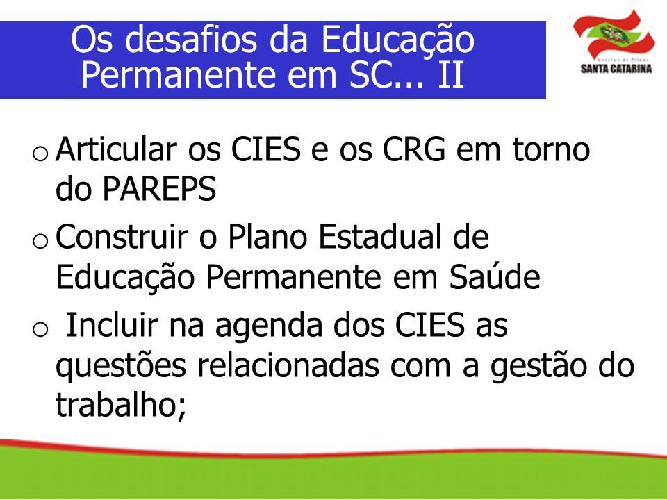 Os desafios da Educação Permanente em SC... II