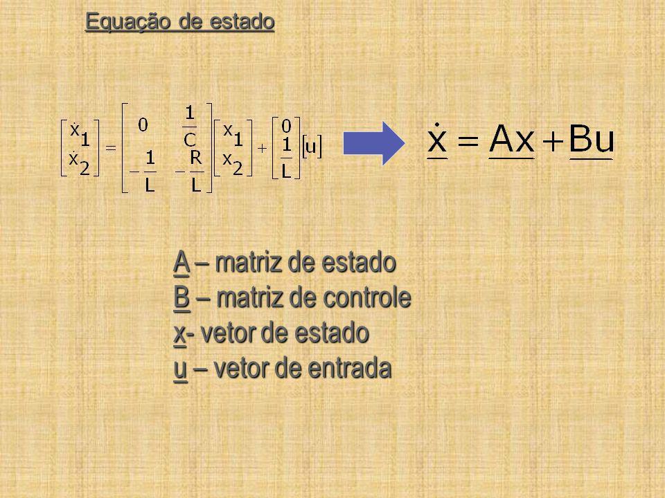 A – matriz de estado B – matriz de controle x- vetor de estado
