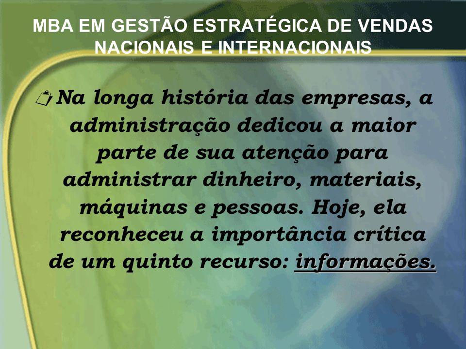 MBA EM GESTÃO ESTRATÉGICA DE VENDAS NACIONAIS E INTERNACIONAIS