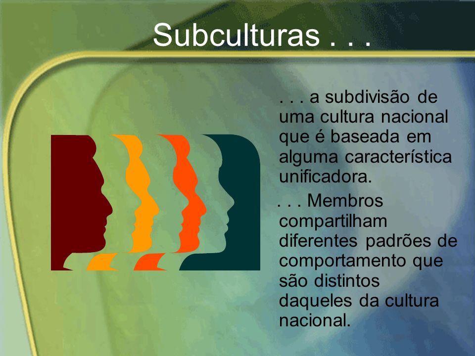 Subculturas . . . . . . a subdivisão de uma cultura nacional que é baseada em alguma característica unificadora.