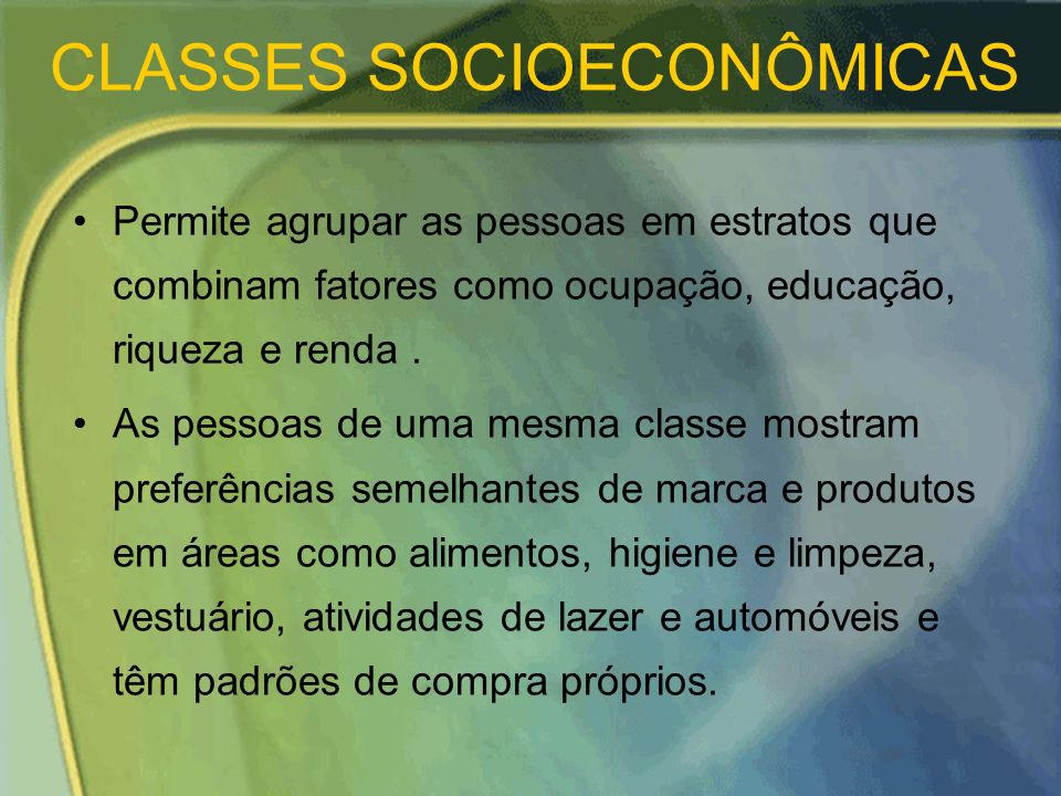 CLASSES SOCIOECONÔMICAS