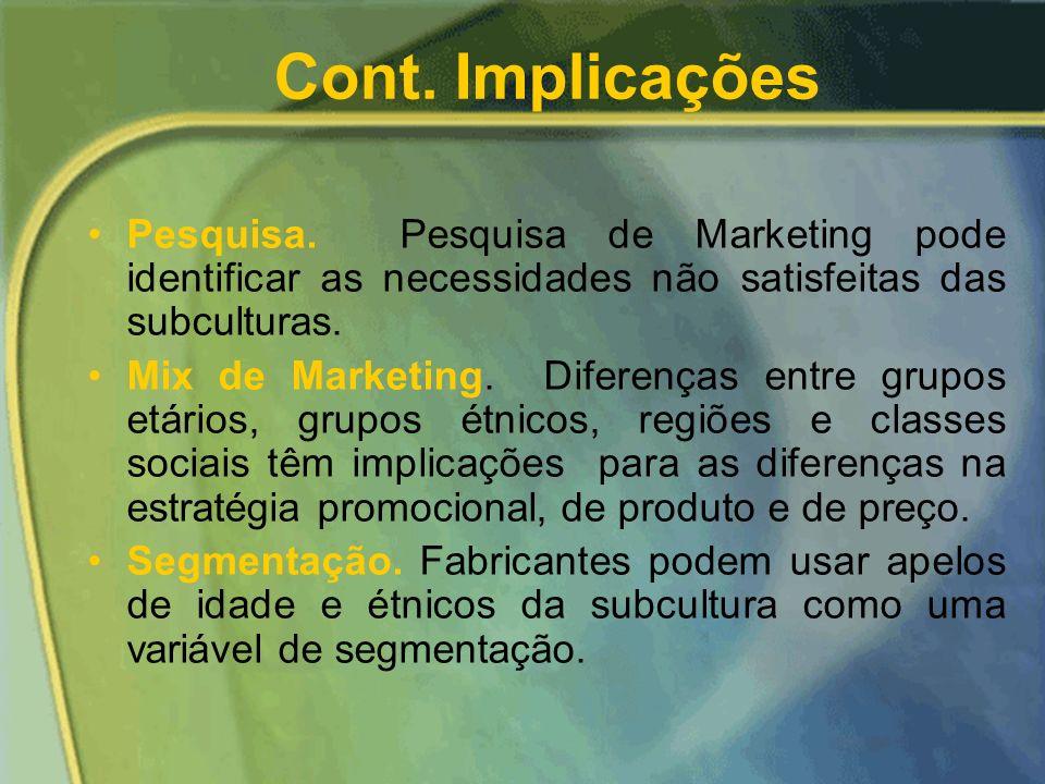 Cont. Implicações Pesquisa. Pesquisa de Marketing pode identificar as necessidades não satisfeitas das subculturas.