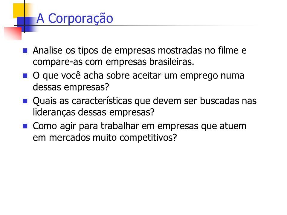 A CorporaçãoAnalise os tipos de empresas mostradas no filme e compare-as com empresas brasileiras.