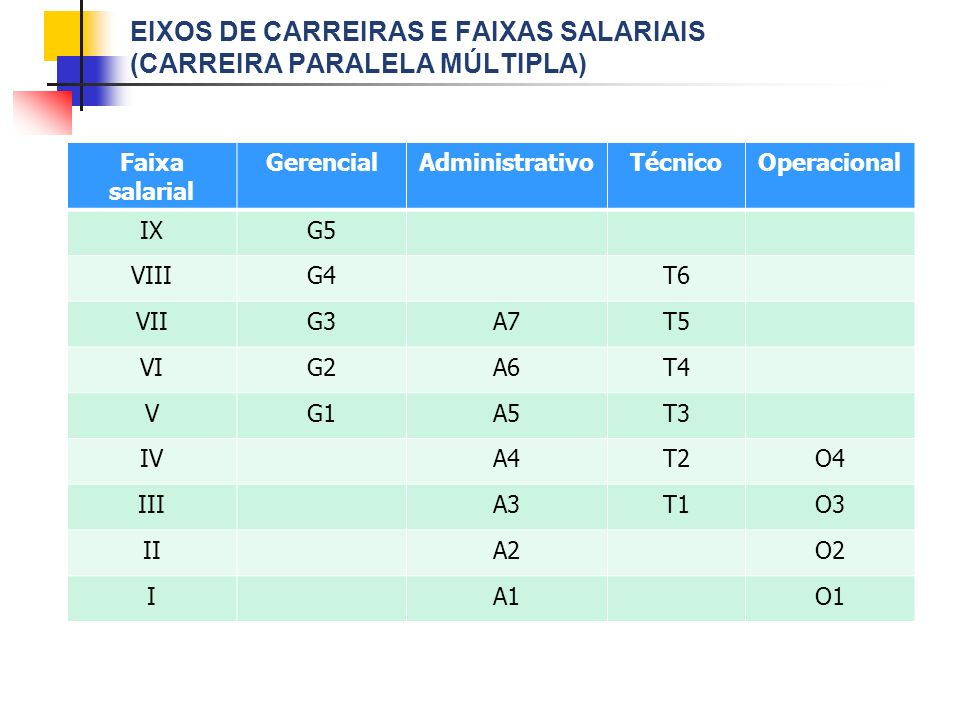 Eixos de carreiras e faixas salariais (Carreira paralela múltipla)