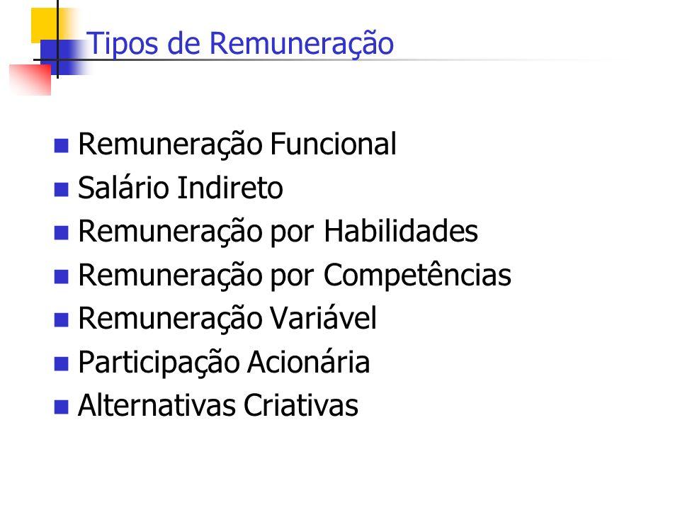 Tipos de Remuneração Remuneração Funcional. Salário Indireto. Remuneração por Habilidades. Remuneração por Competências.