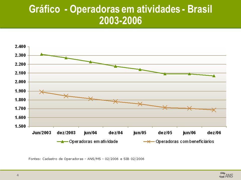 Gráfico - Operadoras em atividades - Brasil 2003-2006