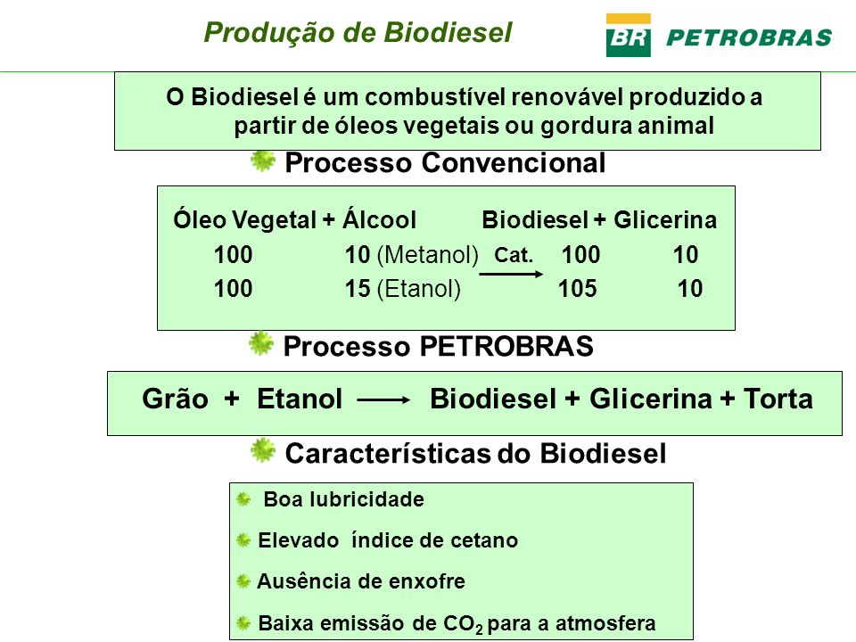 Grão + Etanol Biodiesel + Glicerina + Torta