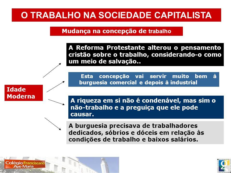 O TRABALHO NA SOCIEDADE CAPITALISTA Mudança na concepção de trabalho
