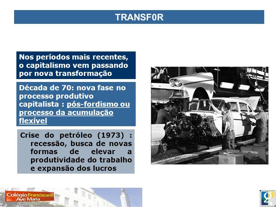 TRANSF0R Nos períodos mais recentes, o capitalismo vem passando por nova transformação.
