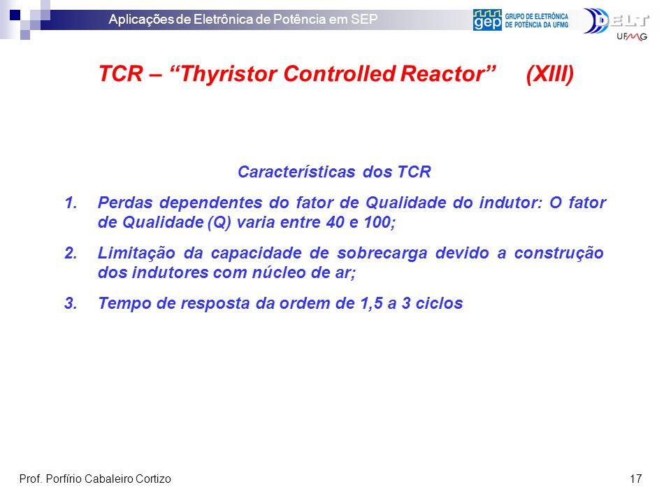 TCR – Thyristor Controlled Reactor (XIII) Características dos TCR