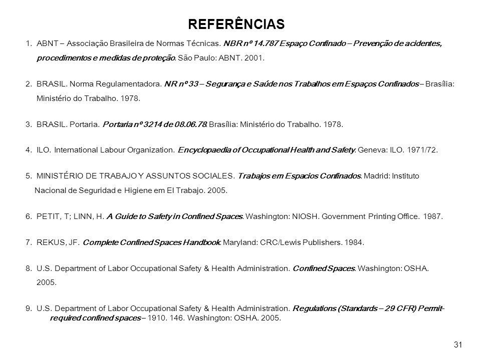 REFERÊNCIAS 1. ABNT – Associação Brasileira de Normas Técnicas. NBR nº 14.787 Espaço Confinado – Prevenção de acidentes,
