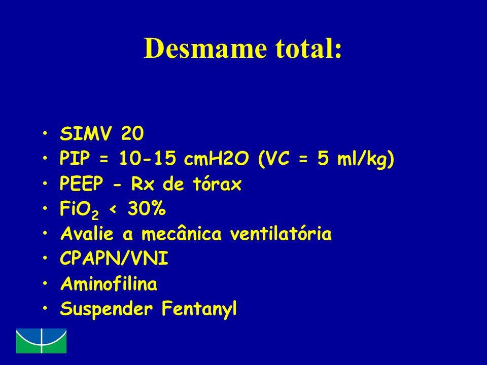 Desmame total: SIMV 20 PIP = 10-15 cmH2O (VC = 5 ml/kg)