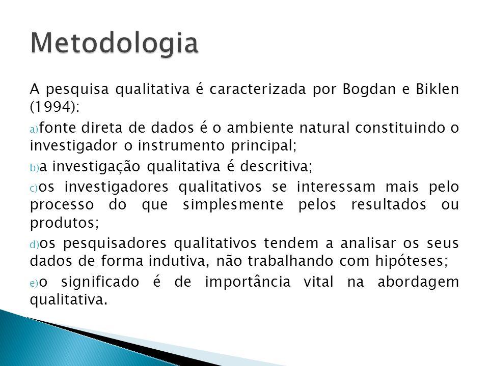 Metodologia A pesquisa qualitativa é caracterizada por Bogdan e Biklen (1994):