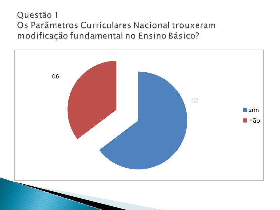 Questão 1 Os Parâmetros Curriculares Nacional trouxeram modificação fundamental no Ensino Básico