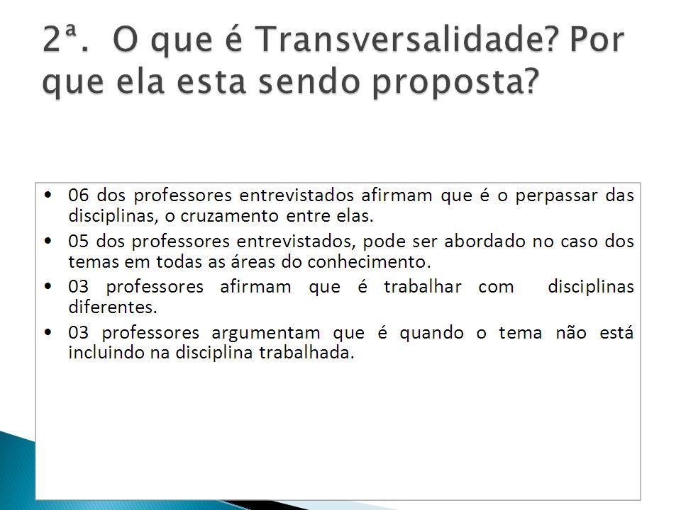 2ª. O que é Transversalidade Por que ela esta sendo proposta