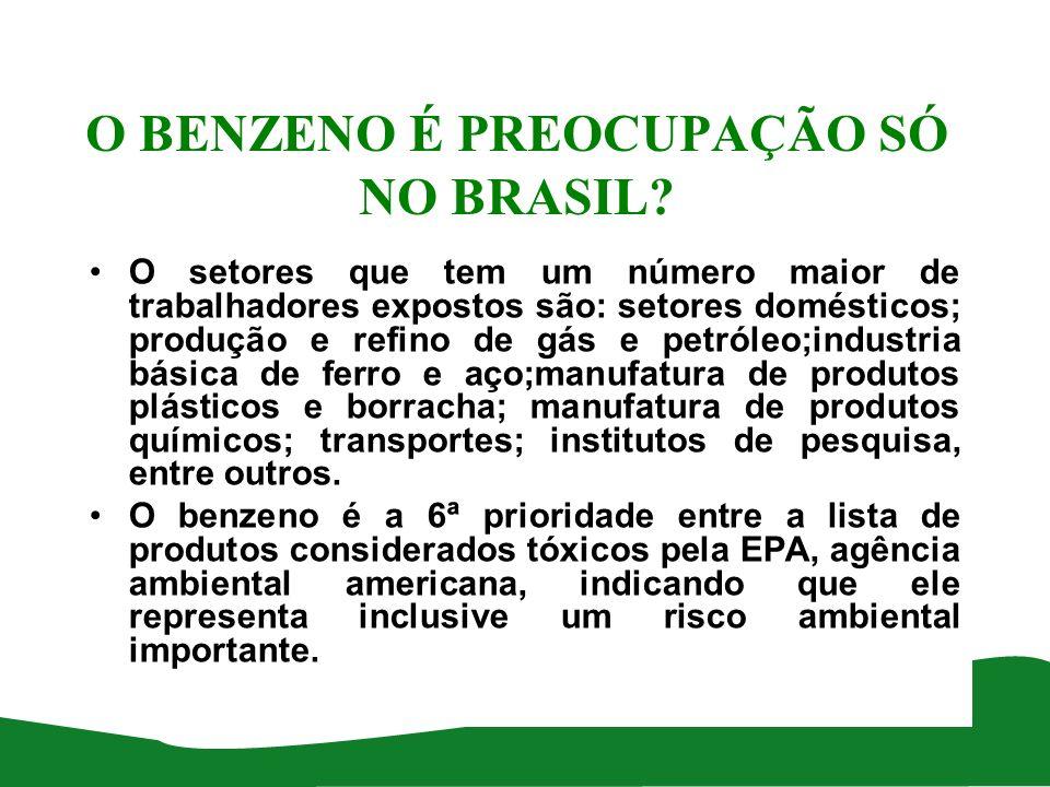 O BENZENO É PREOCUPAÇÃO SÓ NO BRASIL