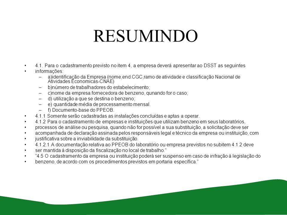 RESUMINDO 4.1. Para o cadastramento previsto no item 4, a empresa deverá apresentar ao DSST as seguintes.