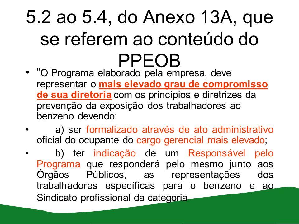 5.2 ao 5.4, do Anexo 13A, que se referem ao conteúdo do PPEOB