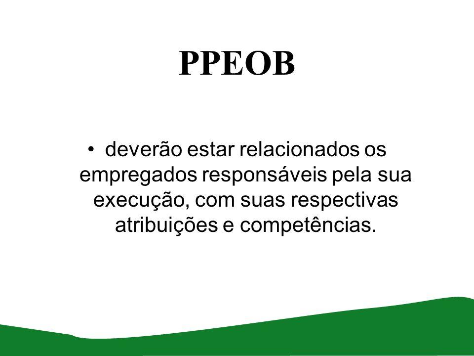 PPEOB deverão estar relacionados os empregados responsáveis pela sua execução, com suas respectivas atribuições e competências.