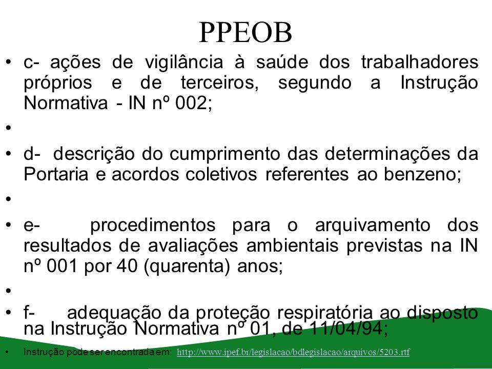 PPEOB c- ações de vigilância à saúde dos trabalhadores próprios e de terceiros, segundo a Instrução Normativa - IN nº 002;