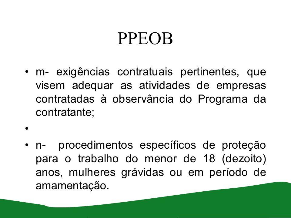 PPEOB m- exigências contratuais pertinentes, que visem adequar as atividades de empresas contratadas à observância do Programa da contratante;